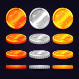 Gold, silver, and copper coins in different positions. Vector elements for animation computer games. Gold, silver, and copper coins in different positions Stock Photos