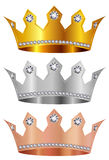 Gold silver copper crown crown stock photography