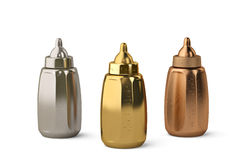 Gold, silver and copper three baby bottles on white background 3. Gold, silver and copper three baby bottles on white background stock illustration