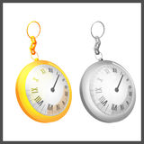 Gold Silver Couple Pocket Clock Royalty Free Stock Photography