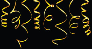Gold and silver curling ribbons Royalty Free Stock Image