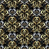 Gold silver 3d damask seamless pattern. Vector floral beautiful. Background wallpaper. Hand drawn vintage luxury damask ornament. Vintage flowers, leaves, swirl stock illustration
