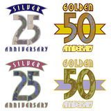 Gold, silver date. Emblem, greeting icon - a symbolic date of a significant event Stock Image