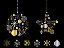 Gold and silver decorations. Christmas greeting card with gold and silver decorations Stock Photo
