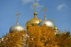 Gold and silver dome in the center of the autumn. Gold and silver domes of the Church, the Church in the Park, Golden autumn, and religion Royalty Free Stock Image