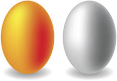 Gold and silver eggs Stock Photography
