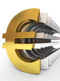 Gold and silver euro signs Royalty Free Stock Photos