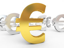 Gold and silver euro signs Royalty Free Stock Images