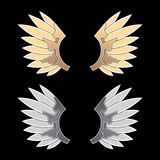 Gold and silver fantasy wings Royalty Free Stock Images