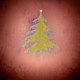 Gold and silver fir tree vintage greeting card Royalty Free Stock Photos