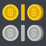 Gold and Silver Flat Style Coins Icon Set. Vector royalty free illustration