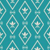Gold and silver Fleur de Lys design. Classic style with a modern twist. Seamless vector pattern on Caribbean blue stock illustration