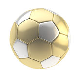 Gold and silver football ball isolated Stock Photo