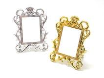 Gold and silver frame border Stock Photos