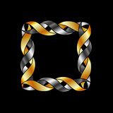 Gold and silver frame over black Stock Images