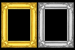 gold and silver frames isolated on black Stock Images