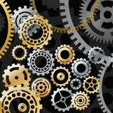 Gold and silver gears on black background stock illustration