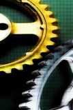 Gold and Silver gears with pattern. Gears royalty free stock photography