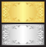 Gold and silver gift coupon with damask ornament. Luxury gift coupon with gold and silver victorian ornament Royalty Free Stock Images
