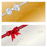 Gold and silver gift voucher with bow Stock Photography
