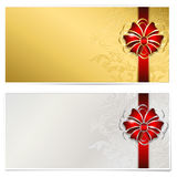 Gold and silver gift voucher. On white, place for text. Illustration Stock Image