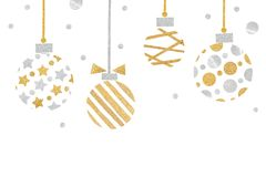 Gold and silver glitter christmas balls paper cut on white background Royalty Free Stock Photo