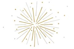 Gold and silver glitter firework paper cut on white background. Isolated Stock Images