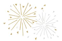 Gold and silver glitter firework paper cut on white background royalty free stock photo