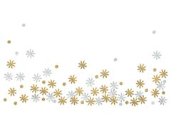 Gold and silver glitter flower paper cut on white background royalty free stock photos