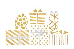 Gold and silver glitter gift boxes paper cut. On white background - isolated vector illustration