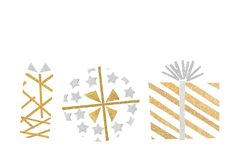 Gold and silver glitter gift boxes paper cut on white background. Isolated stock illustration
