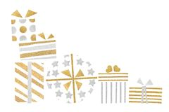 Gold and silver glitter gift boxes paper cut. On white background - isolated royalty free illustration