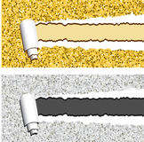 Gold and silver glittering horizontal banners with torn rolled paper stripes. Ripped festive, holidays vector frames Royalty Free Stock Photos