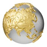 Gold Asia. Gold, silver globe model without water. Asia. 3d rendering isolated on white background. Elements of this image furnished by NASA Stock Image