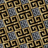 Gold silver greek key meanders seamless pattern. Vector geometric 3d background. Modern wallpaper. Ornate design with diagonal meander , greek key ancient Royalty Free Stock Photography