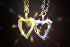 Gold and silver heart Royalty Free Stock Photography