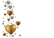 Gold and silver heart vector. For valentine card Stock Photography