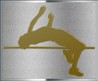 Gold on Silver Highjump Sport Emblem Royalty Free Stock Photography