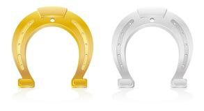 Gold and silver horseshoe talisman charm. Vector illustration isolated on white background royalty free illustration
