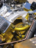 Gold and silver hot rod engine Stock Photography