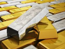 Gold and silver ingots isolated on white background. 3D illustration.  stock illustration