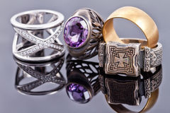 Gold and silver jewelry Stock Images