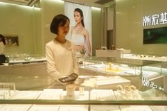 Shenzhen, China: gold silver jewelry store Stock Photography