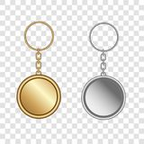 Gold and silver key chain pendants mockup. Blank template for corporate identity. Vector illustration royalty free illustration