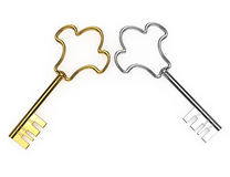Gold and silver keys. On white background. 3d rendered image Stock Image