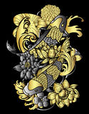 Gold and silver Koi fish and flower japanese tattoo on black background. Beautiful line art Koi carp tattoo design ,Beautiful doodle art Koi carp tattoo design Stock Photo