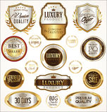 Gold and silver labels with laurel wreath set Stock Images