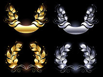 Gold and silver laurel wreath Stock Photography