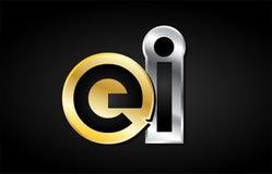 Gold silver letter joint logo icon alphabet design Stock Photos