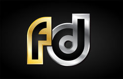 Gold silver letter joint logo icon alphabet design Royalty Free Stock Photos